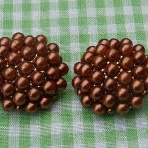 Vintage Clip On Earrings Rust Brown Faux Pearl